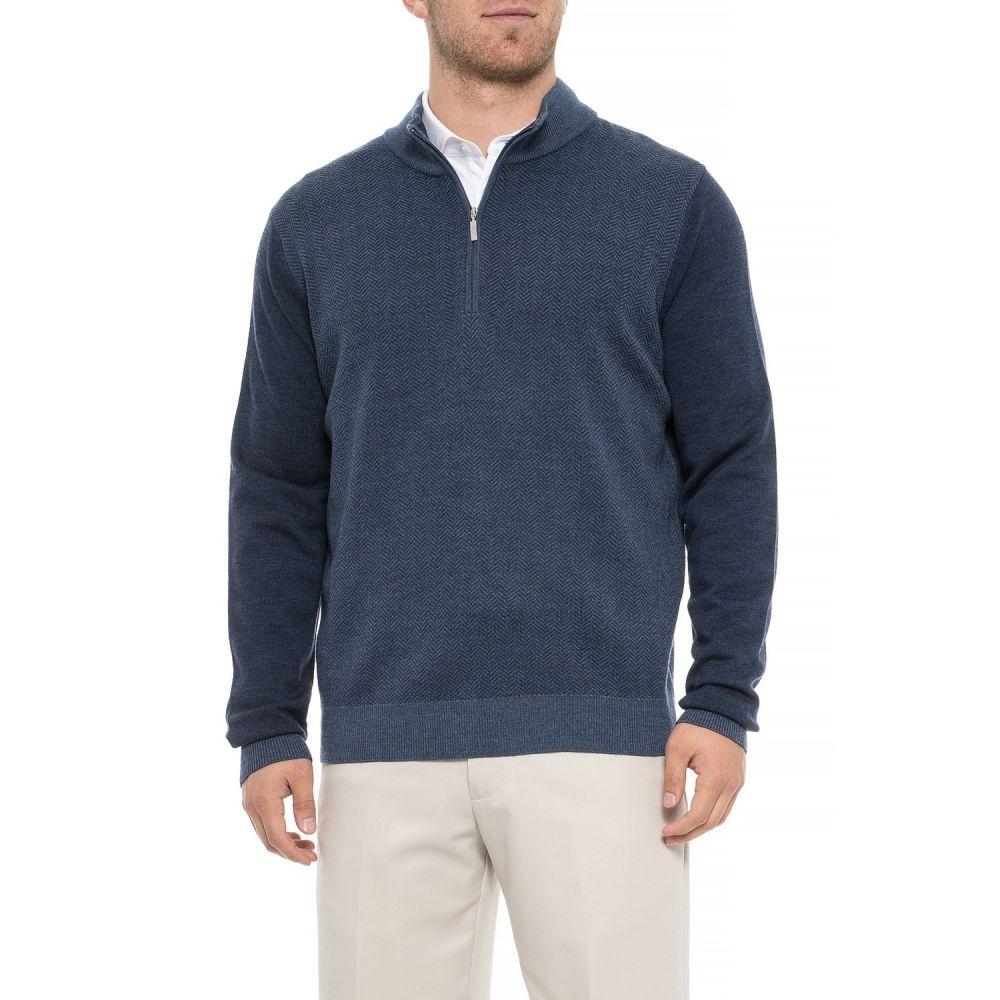 カーヌスティー Carnoustie メンズ ゴルフ トップス【Merino Wool Golf Sweater - Zip Neck】Navy