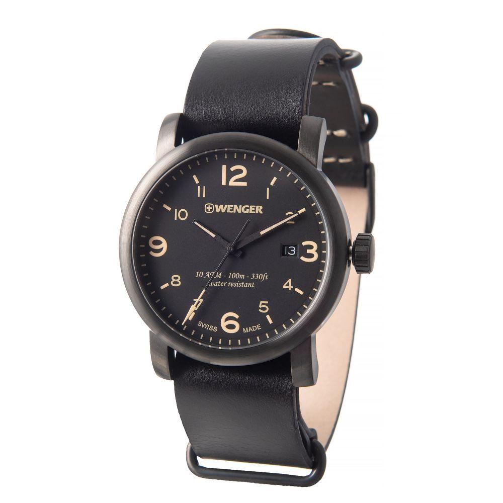 ウェンガー Wenger メンズ 腕時計【Urban Hipster Watch - 41mm, Leather Strap】Black/Black
