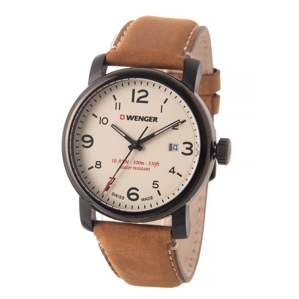 ウェンガー Wenger メンズ 腕時計【Urban Hipster Watch - 41mm, Leather Strap】Beige/Brown