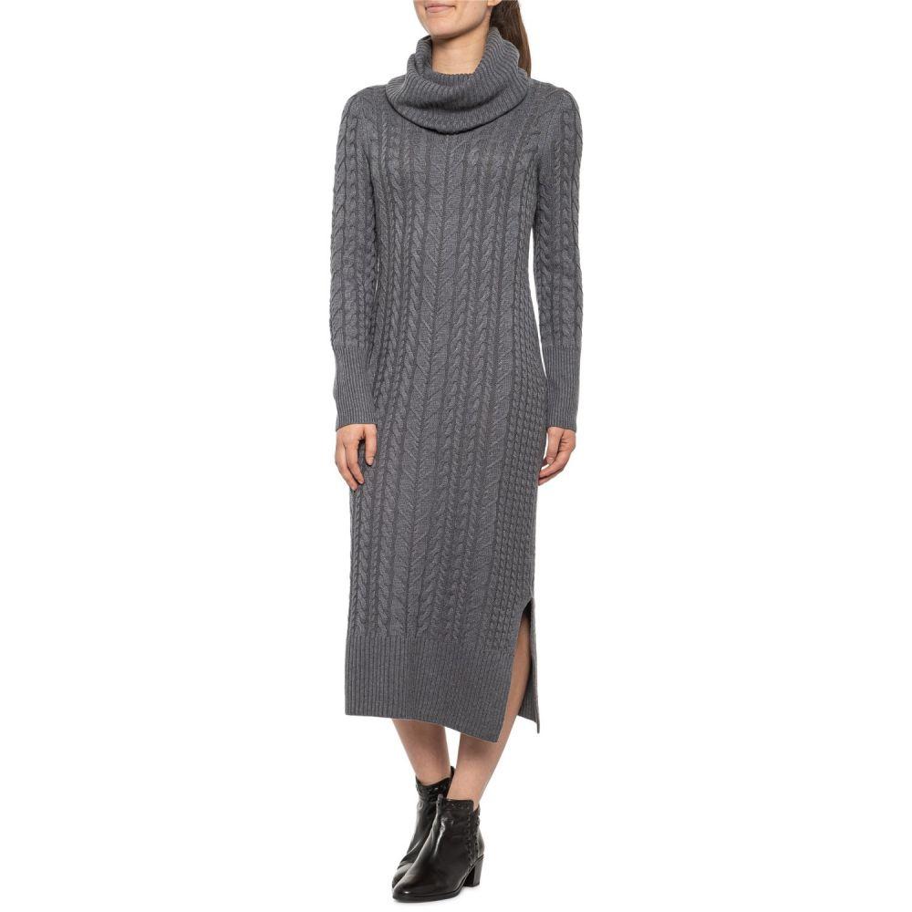 タハリ Tahari レディース ワンピース ミドル丈 ワンピース・ドレス【Storm Grey Cowl Neck Cable Midi Sweater Dress - Long Sleeve】Storm Grey Heather