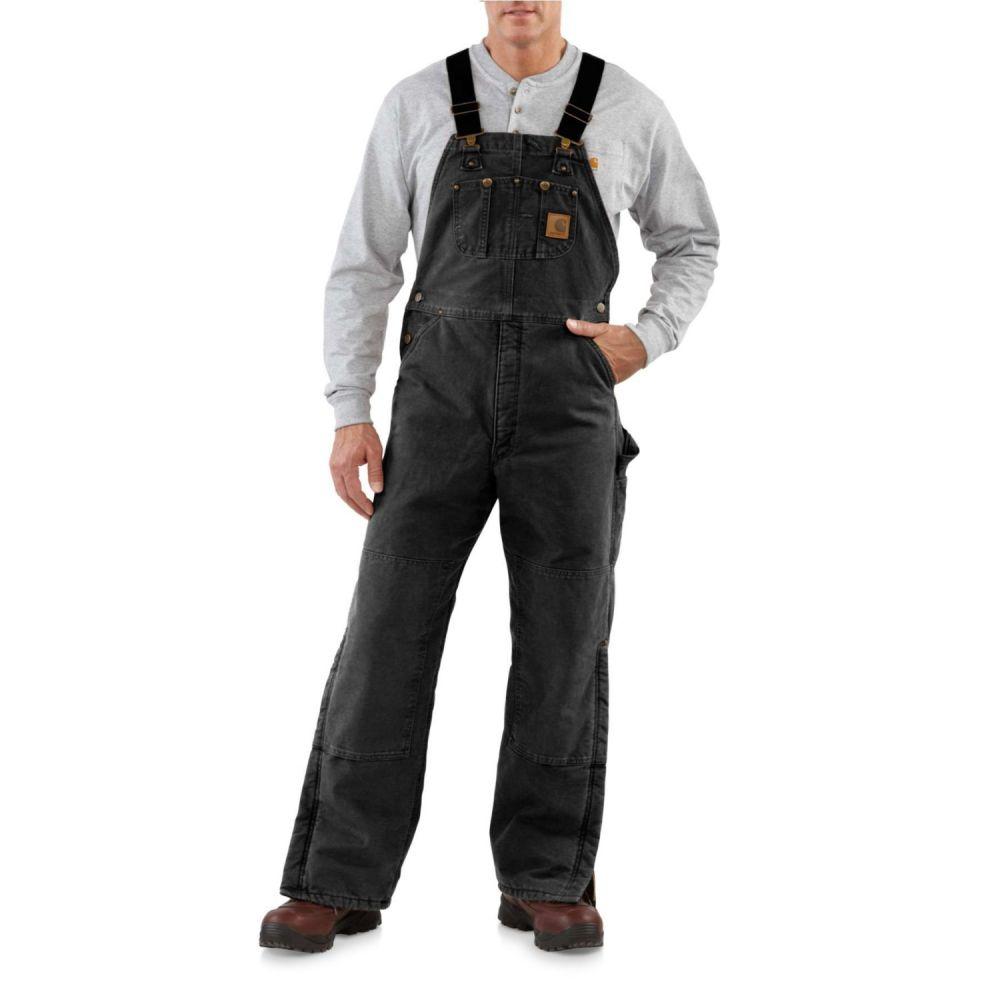 カーハート メンズ ボトムス・パンツ オーバーオール Black 【サイズ交換無料】 カーハート Carhartt メンズ オーバーオール ビブパンツ ボトムス・パンツ【R27 Quilt-Lined Sandstone Bib Overalls - Insulated】Black