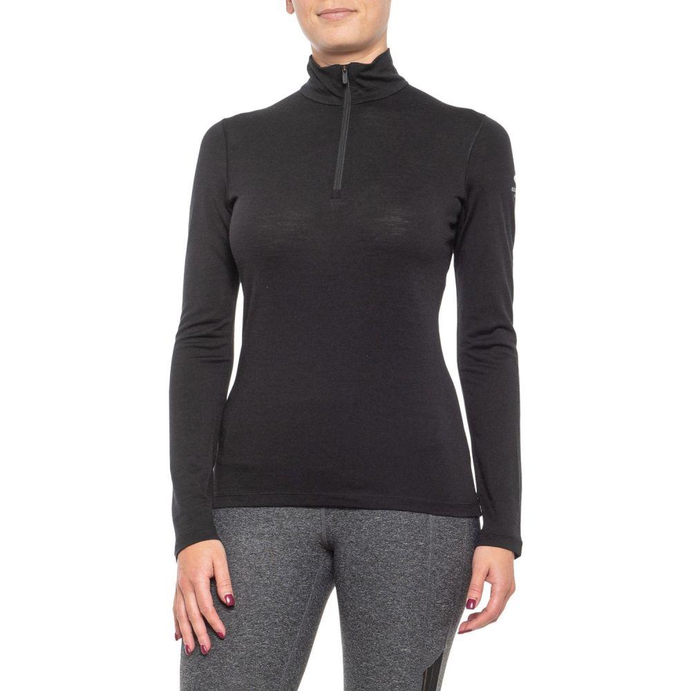 アイスブレーカー Icebreaker レディース 長袖Tシャツ ベースレイヤー トップス【Oasis Zip Neck Base Layer Top - Merino Wool, Long Sleeve】Black