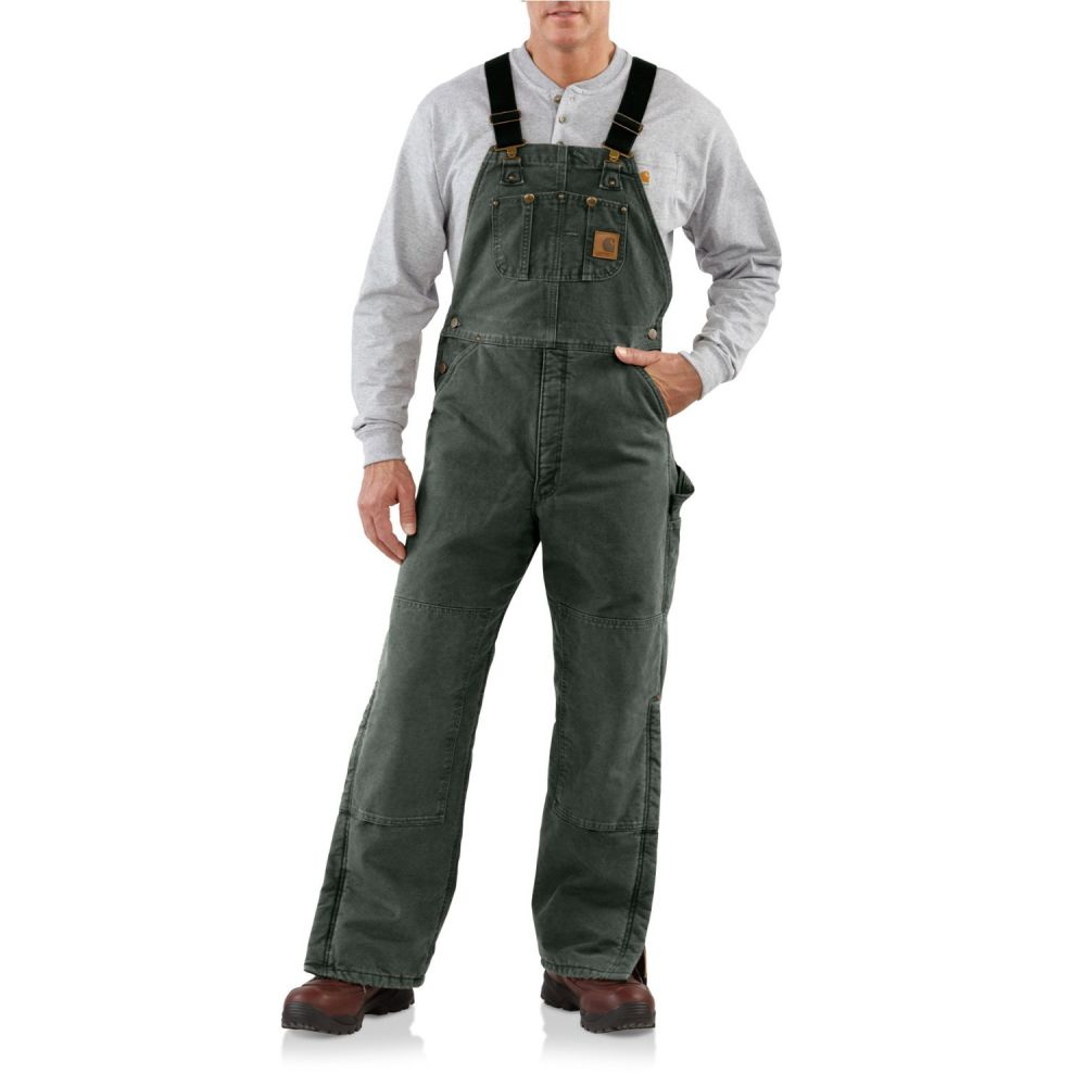 カーハート メンズ ボトムス・パンツ オーバーオール Moss 【サイズ交換無料】 カーハート Carhartt メンズ オーバーオール ビブパンツ ボトムス・パンツ【R27 Quilt-Lined Sandstone Bib Overalls - Insulated】Moss