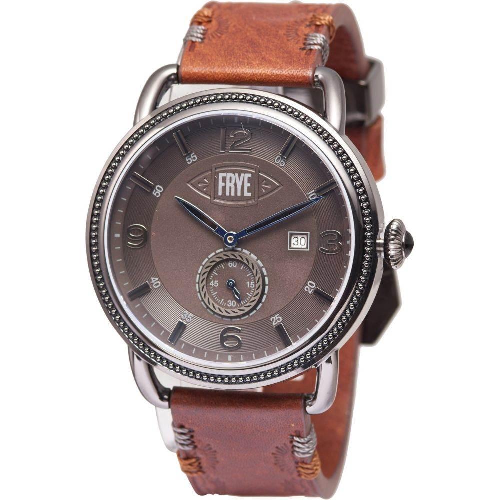 フライ Frye メンズ 腕時計 【Round Double-Layered Textured Dial Watch - Leather Strap】Black/Cognac