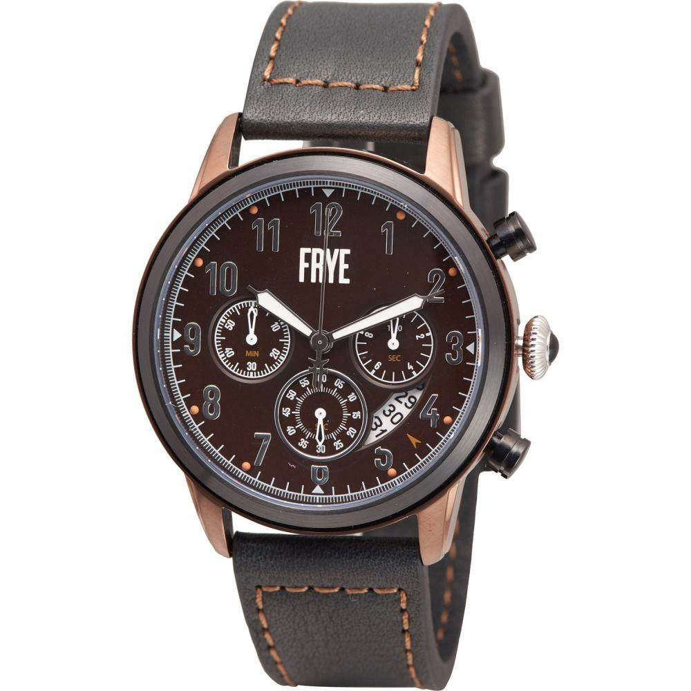 フライ Frye メンズ 腕時計 【Round Dark Chamfered Brushed Bezel Watch - Leather Strap】Black/Dark Brown