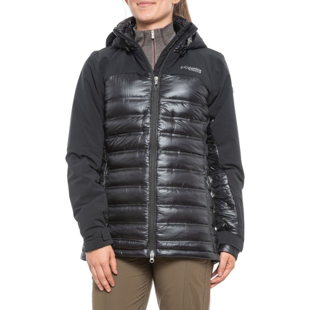 コロンビア Columbia Titanium レディース ダウン・中綿ジャケット フード アウター【Heatzone 1000 TurboDown Omni-Heat Hooded Jacket - Waterproof, 900 Fill Power】Black/Black