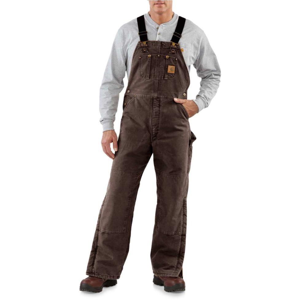 カーハート メンズ ボトムス・パンツ オーバーオール Dark Brown 【サイズ交換無料】 カーハート Carhartt メンズ オーバーオール ボトムス・パンツ【R027 Quilt-Lined Sandstone Bib Overalls - Insulated】Dark Brown