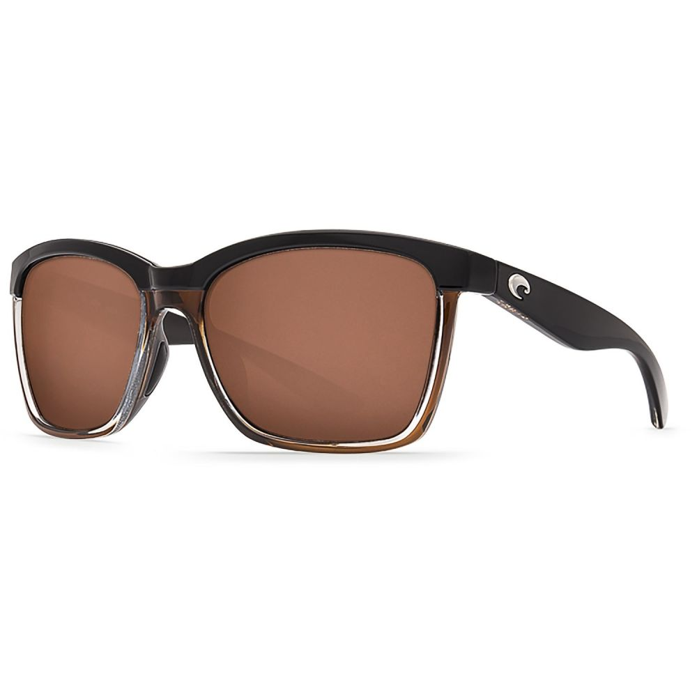 コスタ Costa レディース メガネ・サングラス 【Anaa Sunglasses - Polarized 580P Mirror Lenses】Shiny Black/Brown/Copper