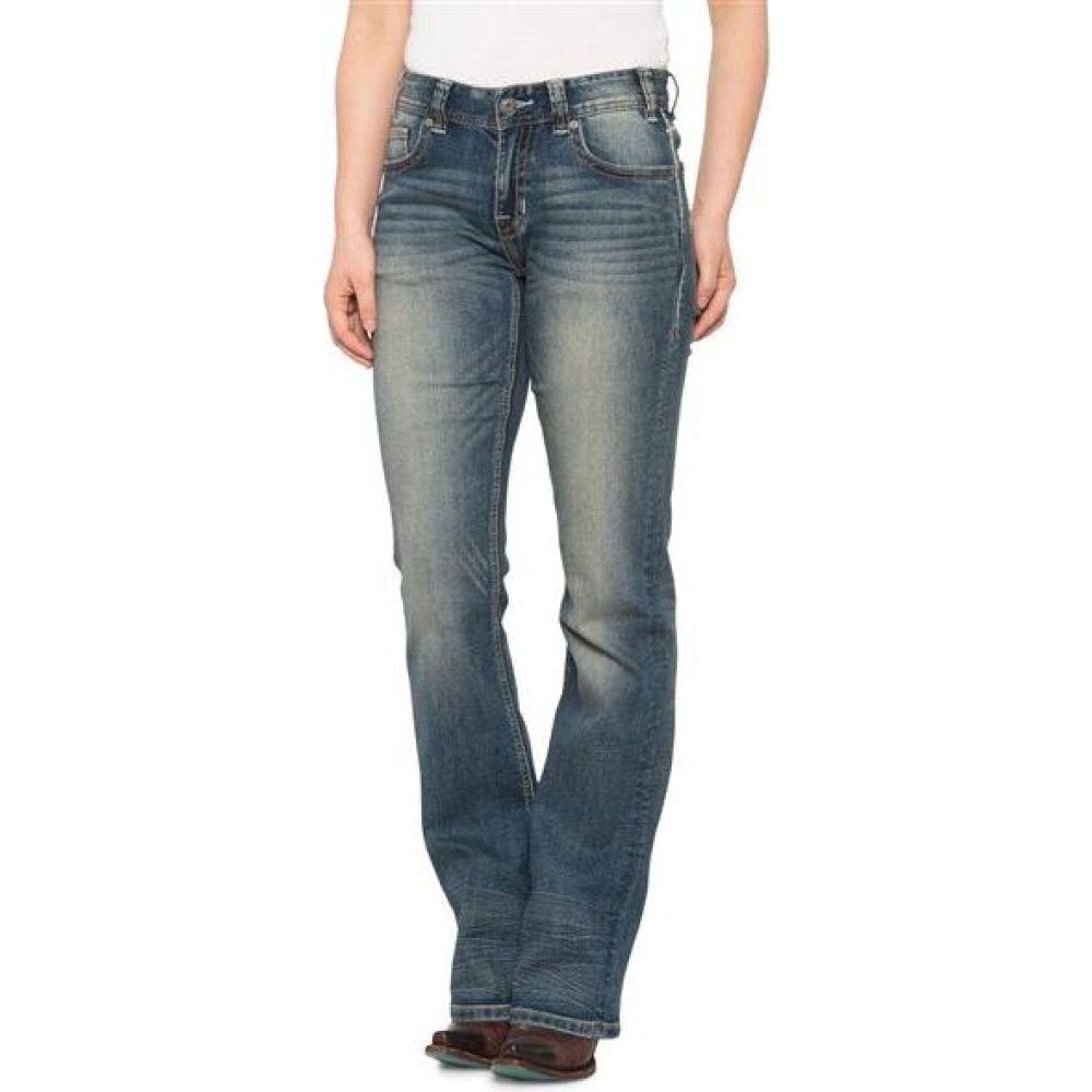 ロックアンドロールカウガール Rock & Roll Cowgirl レディース ジーンズ・デニム ブーツカット ボトムス・パンツ【aztec embroidered jeans - mid rise, bootcut】Med Wash