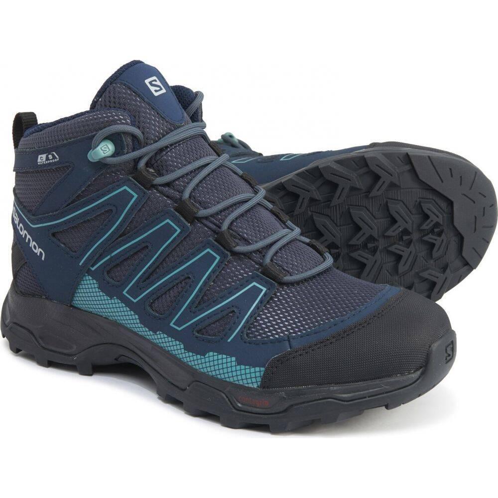 サロモン Salomon レディース ハイキング・登山 ブーツ シューズ・靴【Pathfinder Mid Hiking Boots - Waterproof】India Ink/Navy Blazer/Artic