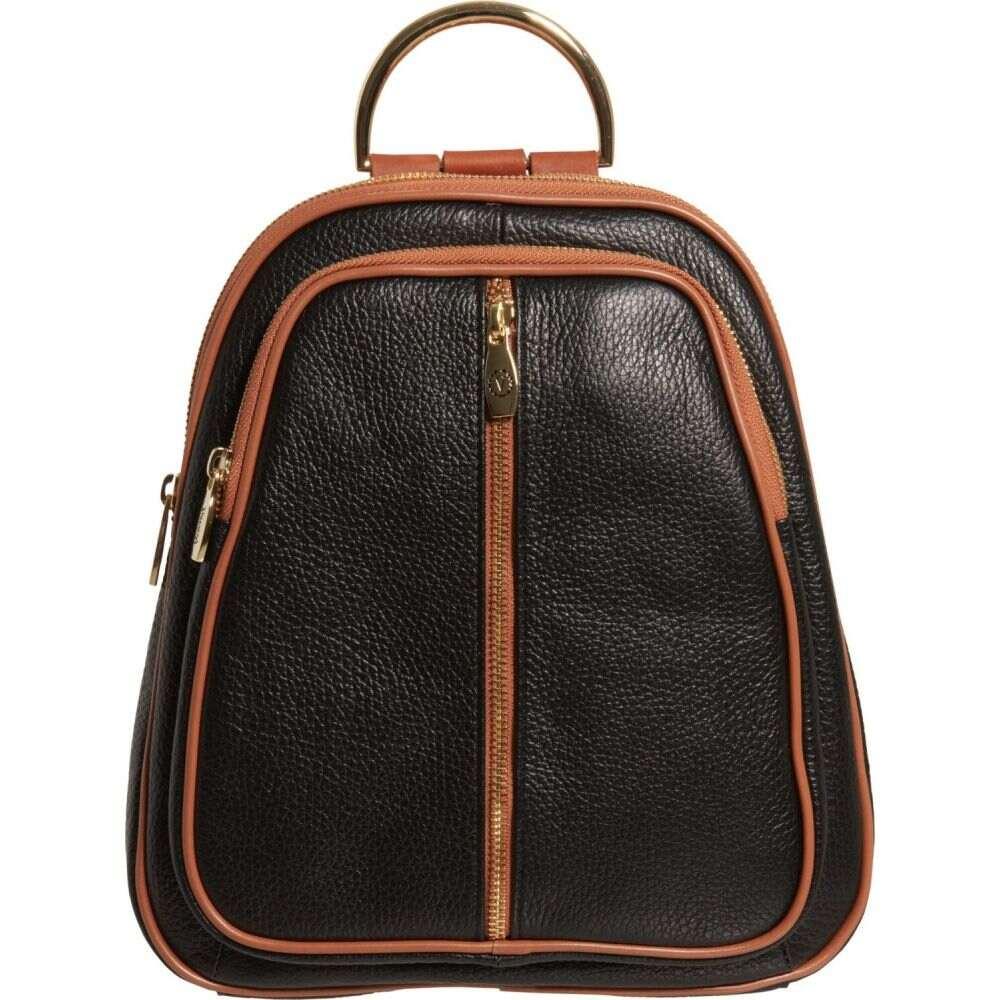 バレンティナ Valentina レディース バックパック・リュック バッグ【Made in Italy Double Entry Dome Backpack - Leather】Black/Honey