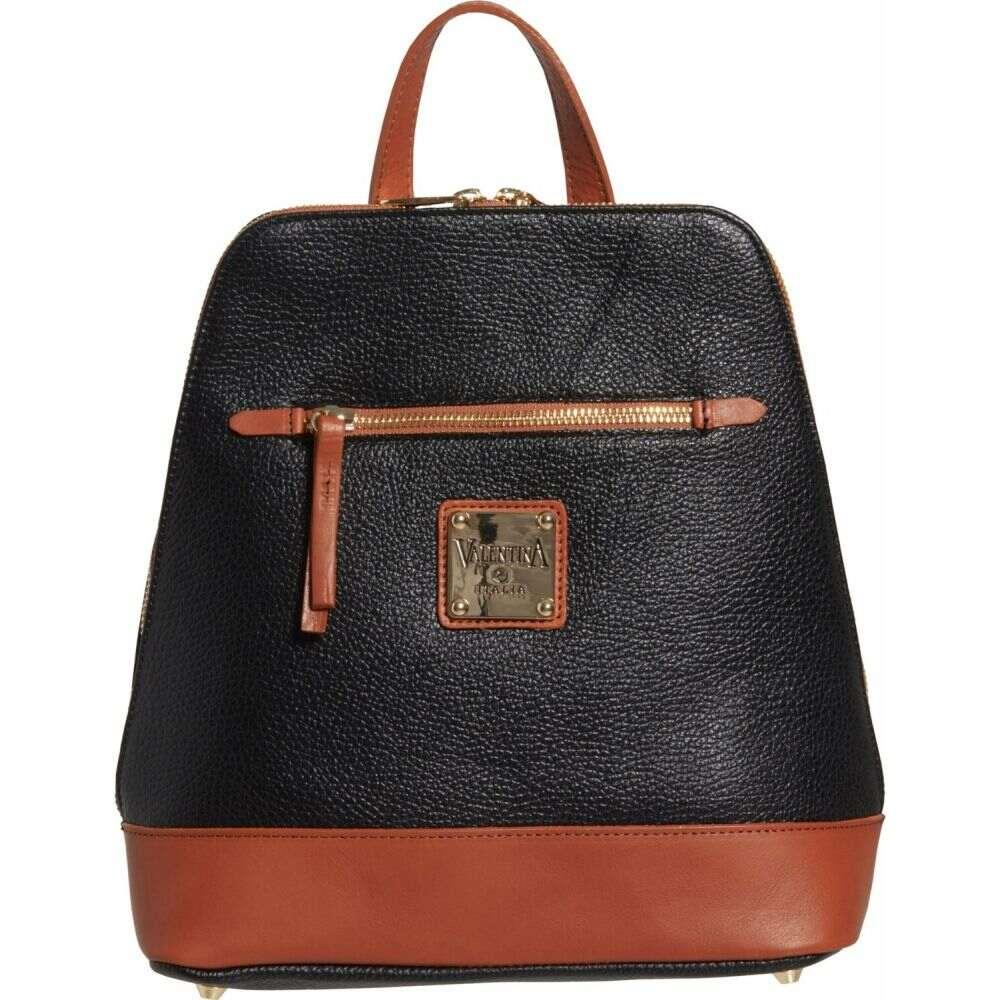 バレンティナ Valentina レディース バックパック・リュック バッグ【Made in Italy Dome Backpack - Leather, 10.5x10x4.5】Black/Honey