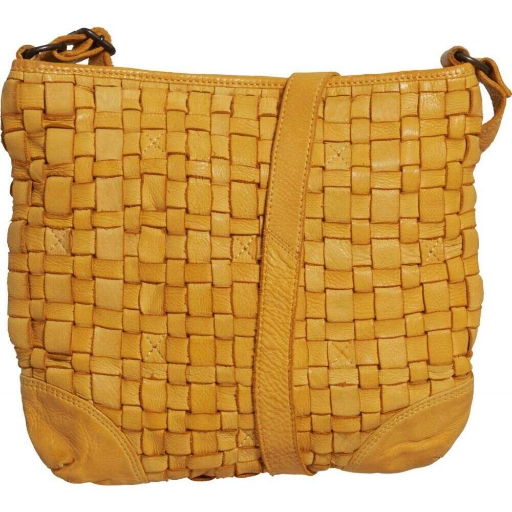 コンティ Conti レディース ショルダーバッグ バッグ【Woven Crossbody Bag - Leather】Yellow