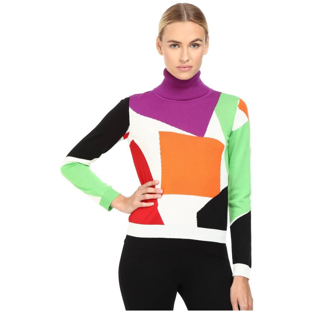 モスキーノ レディース トップス ニット・セーター【Color Block Turtleneck Sweater】Fantasy Print White