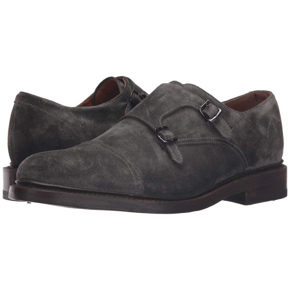フライ メンズ シューズ・靴 革靴・ビジネスシューズ【Jones Double Monk】Charcoal Oiled Suede