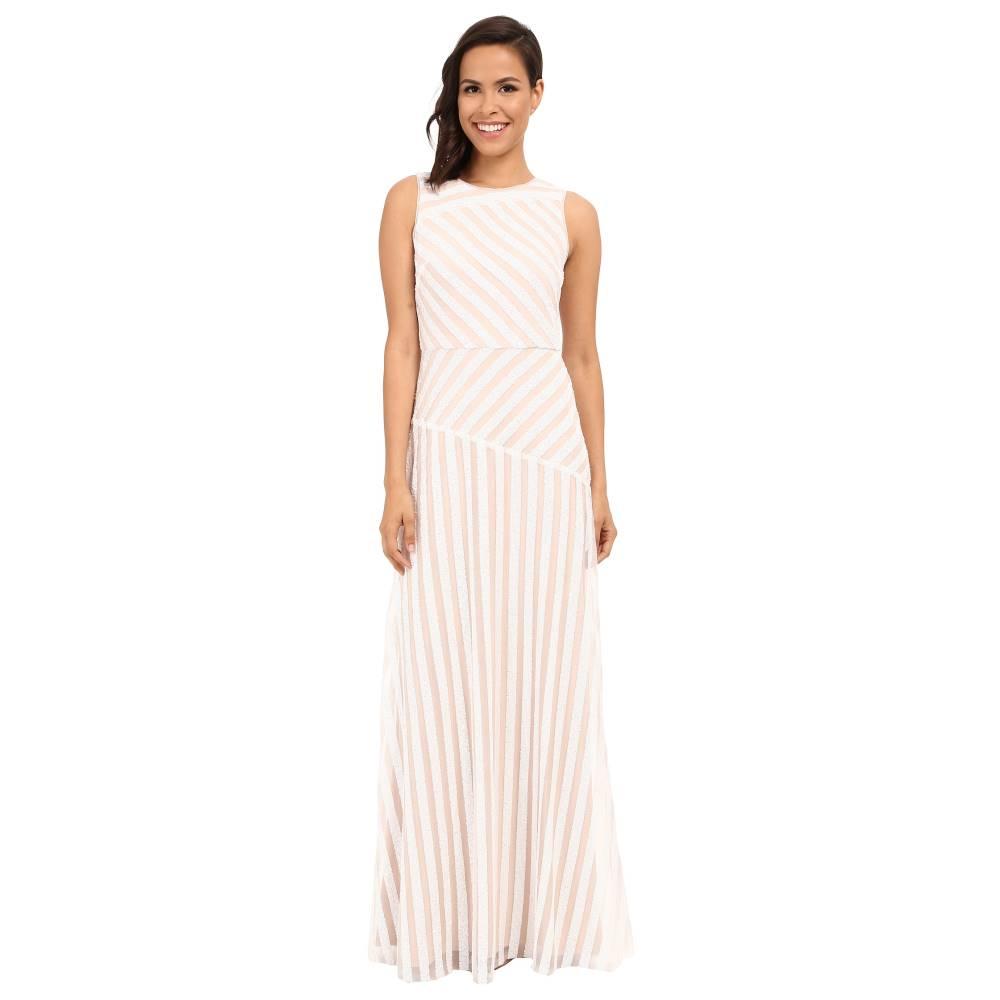 ドナ モルガン レディース ワンピース・ドレス パーティードレス【Gigi Boat Neck Striped Sequin Gown】Ivory/Nude