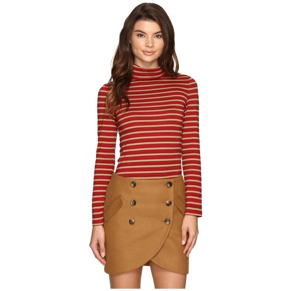 ラヴィエ レディース トップス 長袖Tシャツ【Striped Long Sleeve Turtleneck Top】Red