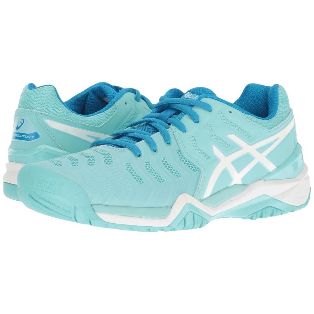 アシックス レディース テニス シューズ・靴【Gel-Resolution 7】Aqua Splash/White/Diva Blue