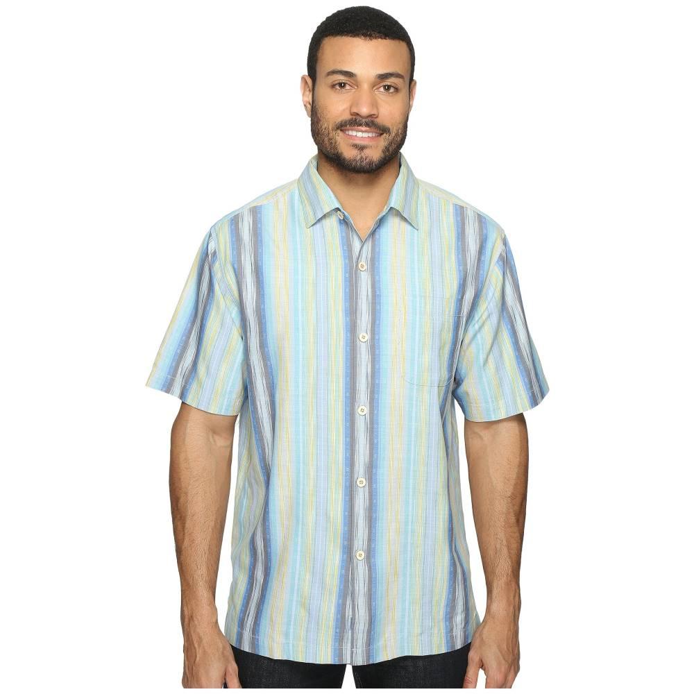 トミー バハマ メンズ トップス 半袖シャツ【Cabo Frio Stripe Short Sleeve Woven Shirt】Download Blue