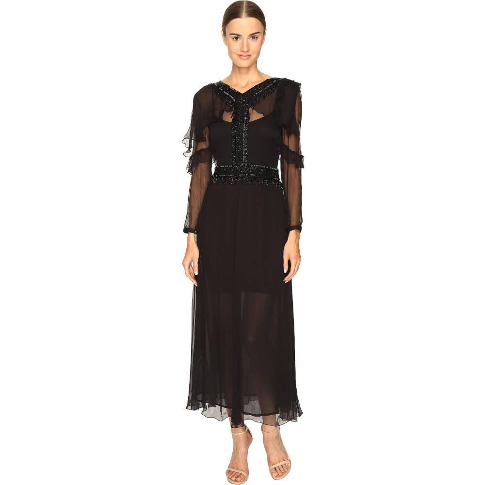 ジャストカヴァッリ レディース ワンピース・ドレス ワンピース【3/4 Sleeve Sheer Embellished Gown】Black
