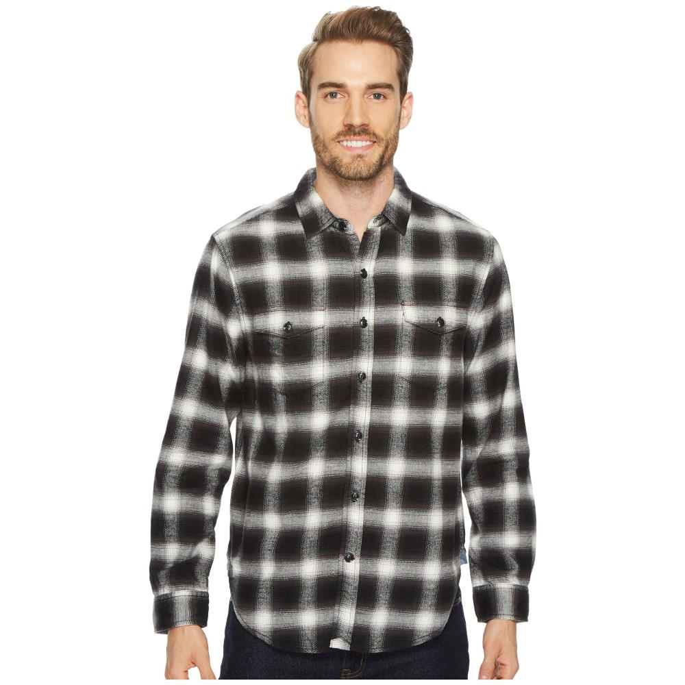 トゥルーグリット メンズ トップス シャツ【Redford Plaid Long Sleeve Two-Pocket Shirt with Chambray and Stitch Detail】Black