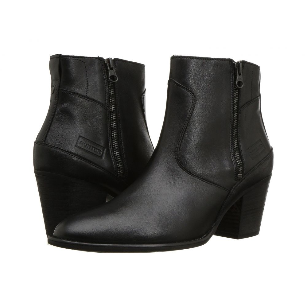 ハンター ブーツ【Refined Boot レディース Leather】Black シューズ・靴 Zip