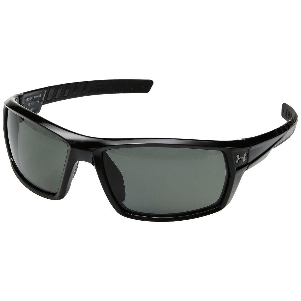 アンダーアーマー メンズ スポーツサングラス【UA Ranger】Shiny Black Frame/Black Rubber/Gray Polarized Multiflection Lens