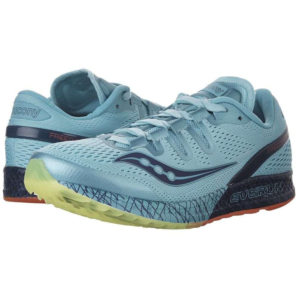 サッカニー レディース ランニング・ウォーキング シューズ・靴【Freedom ISO】Blue/Citron