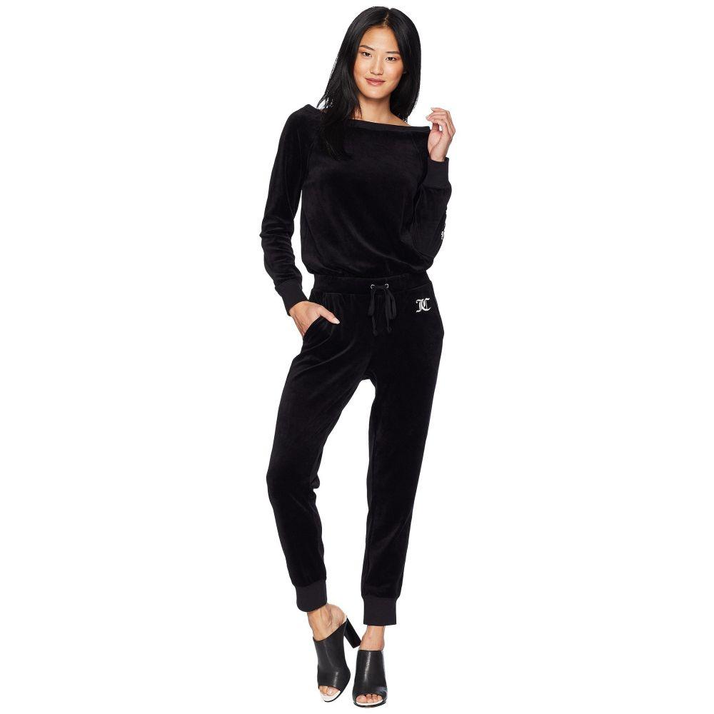ジューシークチュール レディース ワンピース・ドレス オールインワン【Track Velour Juicy Mania Long Sleeve Jumpsuit】Pitch Black