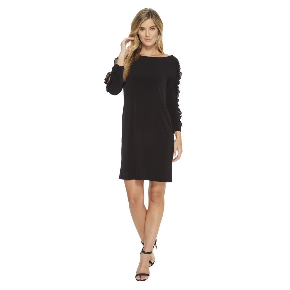 イヴァンカ トランプ レディース ワンピース・ドレス ワンピース【Matte Jersey Sleeve Detail w/ Ruffle Dress】Black