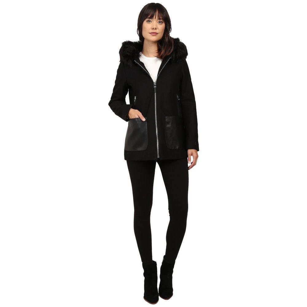 カルバンクライン レディース アウター コート【Fashion Fur Trimmed Hood with Oversized PU Pocket】Black