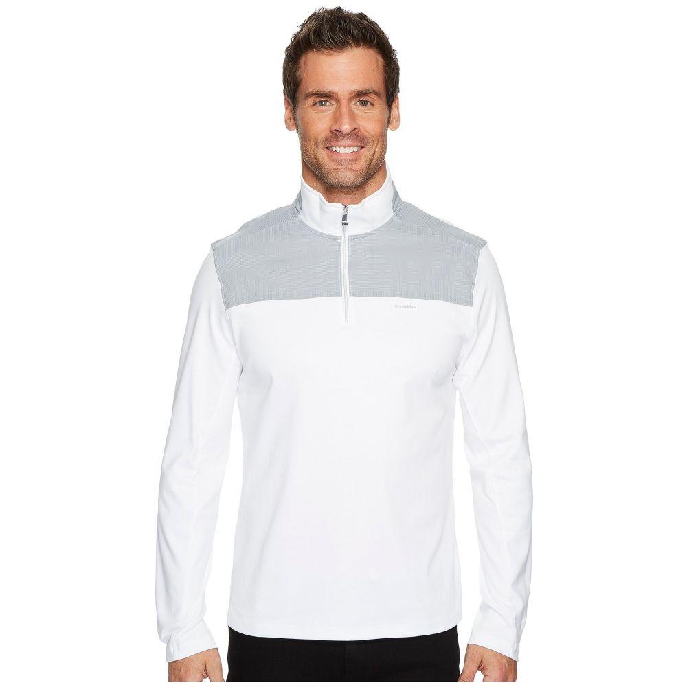 カルバンクライン メンズ トップス ニット・セーター【Mixed Media 1/4 Zip Pullover】Standard White