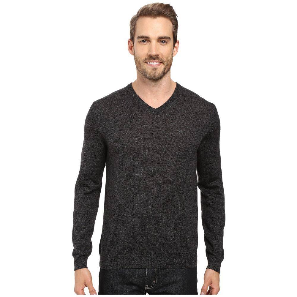 カルバンクライン メンズ トップス ニット・セーター【Solid Merino V-Neck Sweater】Black Jack Heather