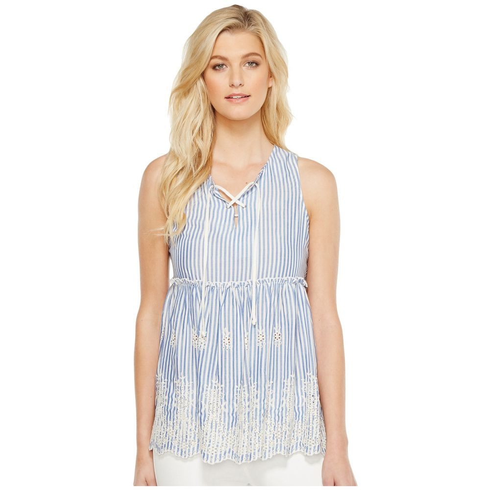 f738dd6f3 カレンケーン レディース トップス ノースリーブ Lace-Up Embroidered Sleeveless Top Blue