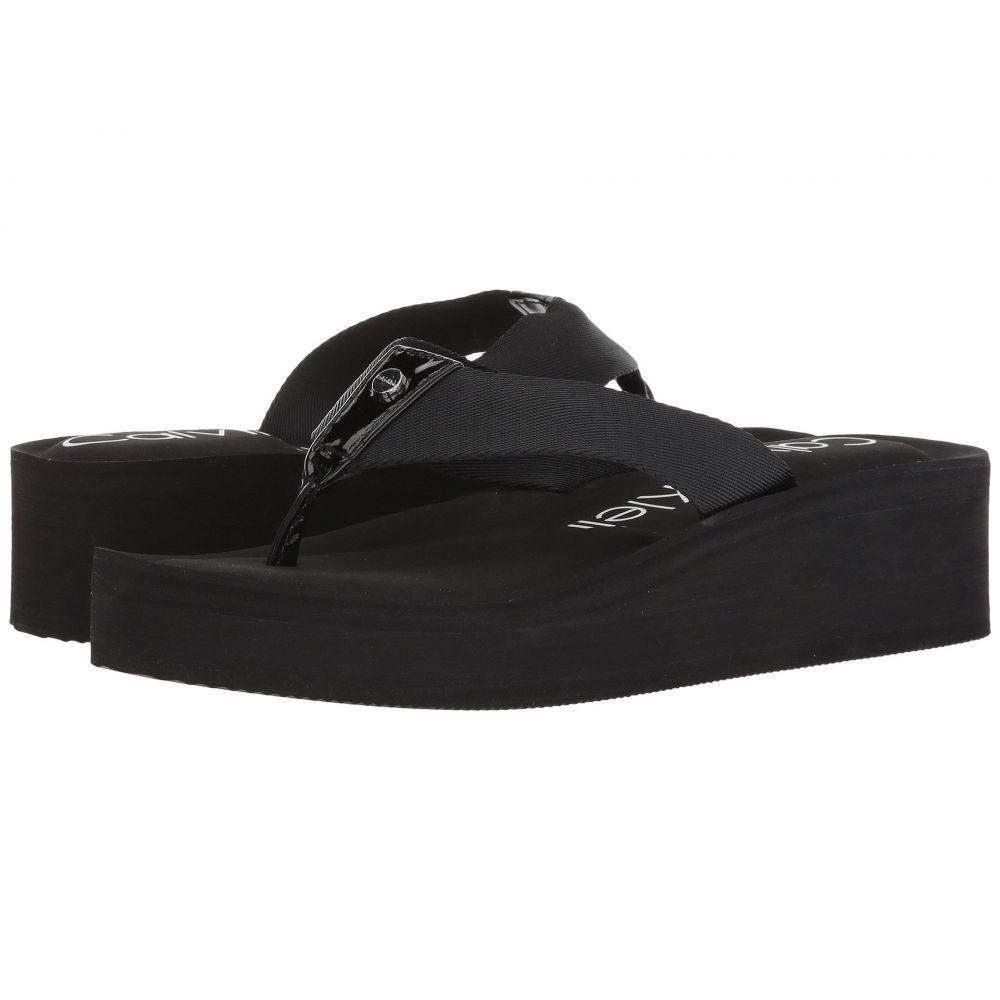 カルバンクライン レディース シューズ・靴 ビーチサンダル【Mulan】Black Nylon Webbing