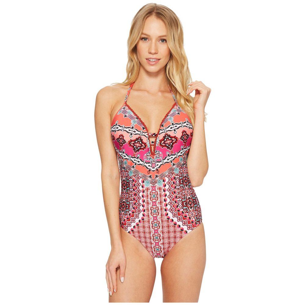ランドリー レディース 水着・ビーチウェア ワンピース【Mystic Tiles Plunge Halter One-Piece Swimsuit】Spice