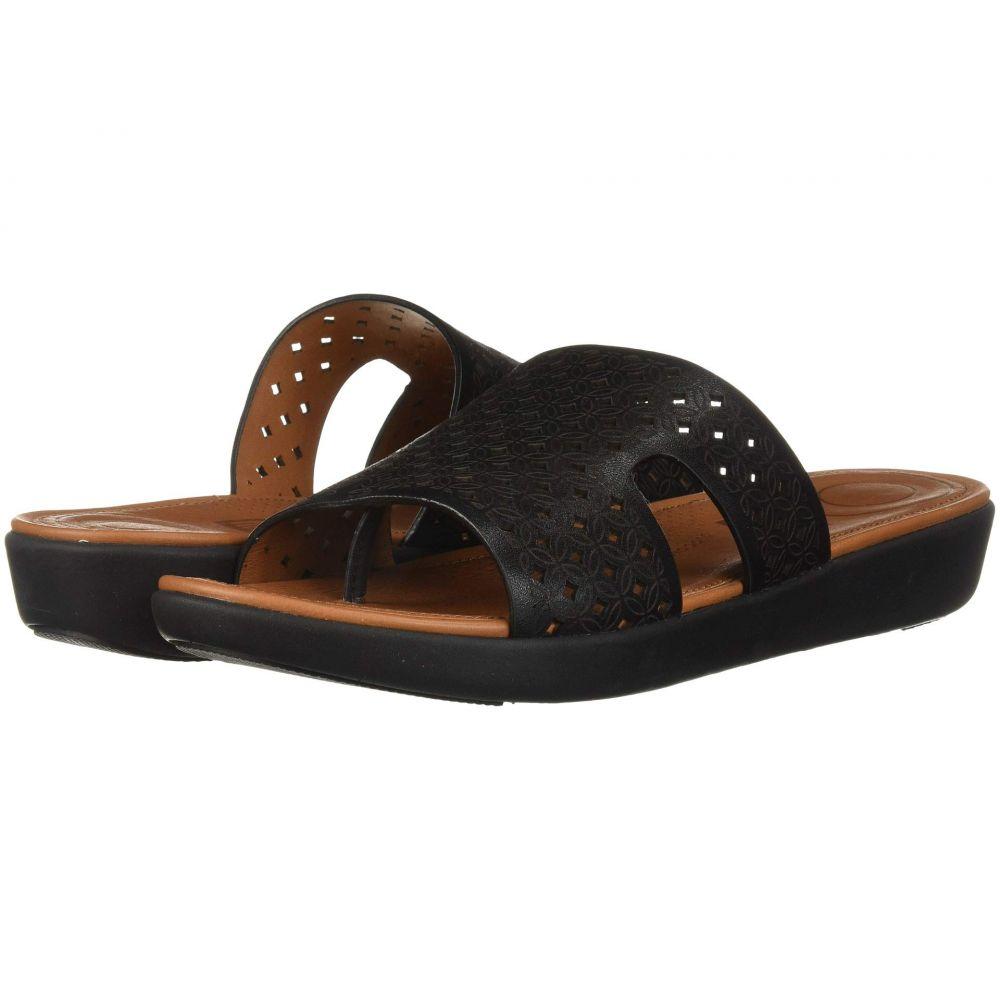 フィットフロップ FitFlop レディース シューズ・靴 ビーチサンダル【H-Bar Slide Sandals - Latticed Leather】Black