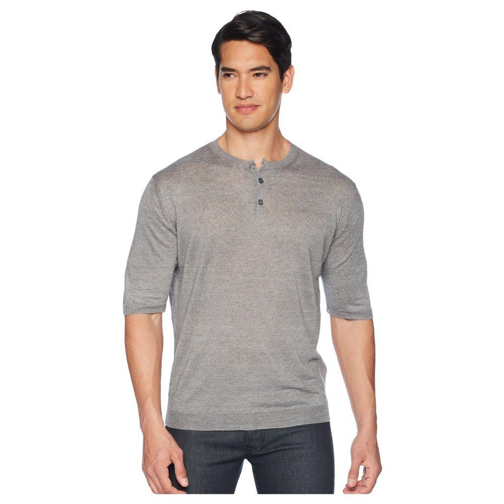 イレブンティ eleventy メンズ トップス Tシャツ【Short Sleeve Linen Henley】Light Grey