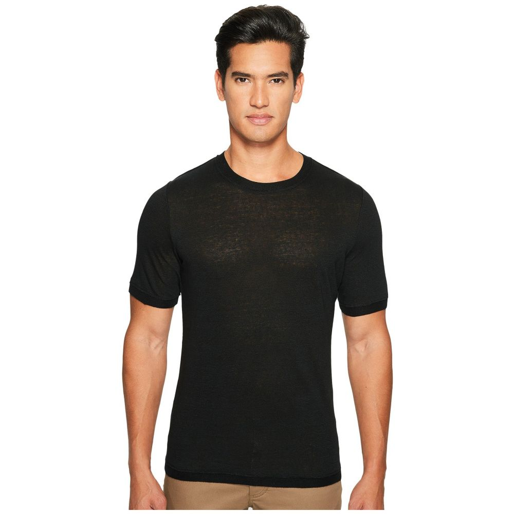 ヴィンス Vince メンズ トップス ニット・セーター【Linen Short Sleeve Crew Neck Trimmed Sweater】Black