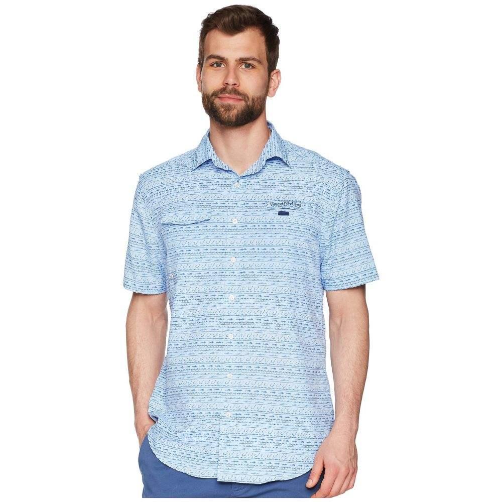 ヴィニヤードヴァインズ Vineyard Vines メンズ トップス 半袖シャツ【Fish Hook Wave Short Sleeve Harbor Shirt】Basin Blue