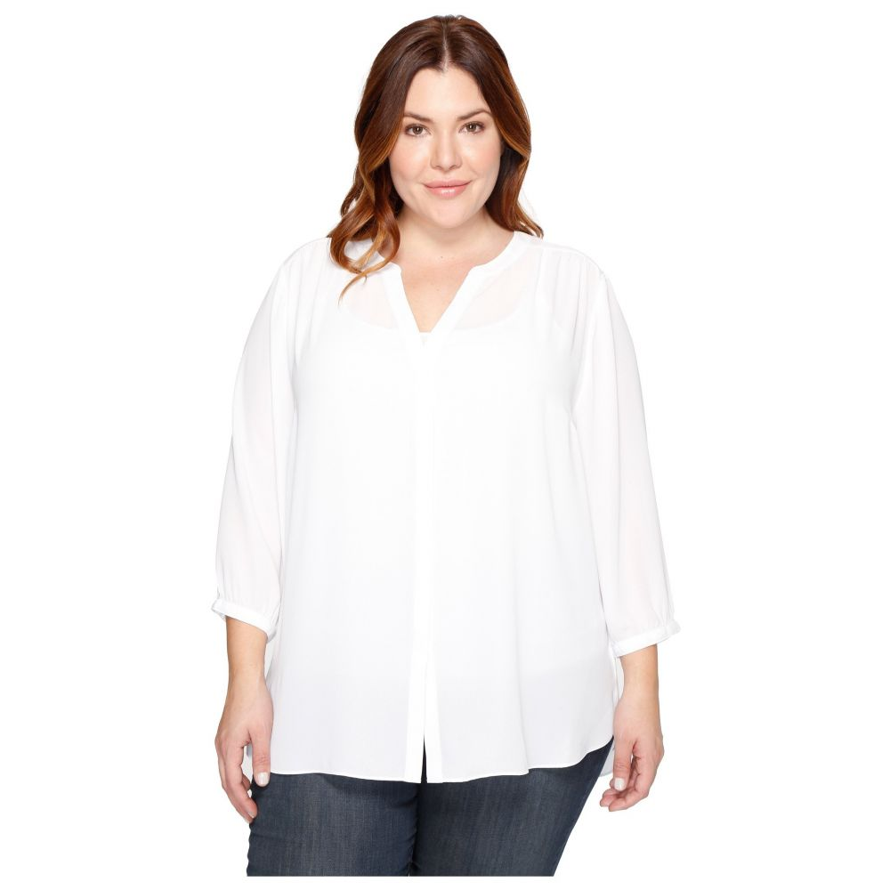 NYDJ NYDJ Plus Size レディース トップス ブラウス・シャツ【Plus Size Pintuck Blouse】Optic White