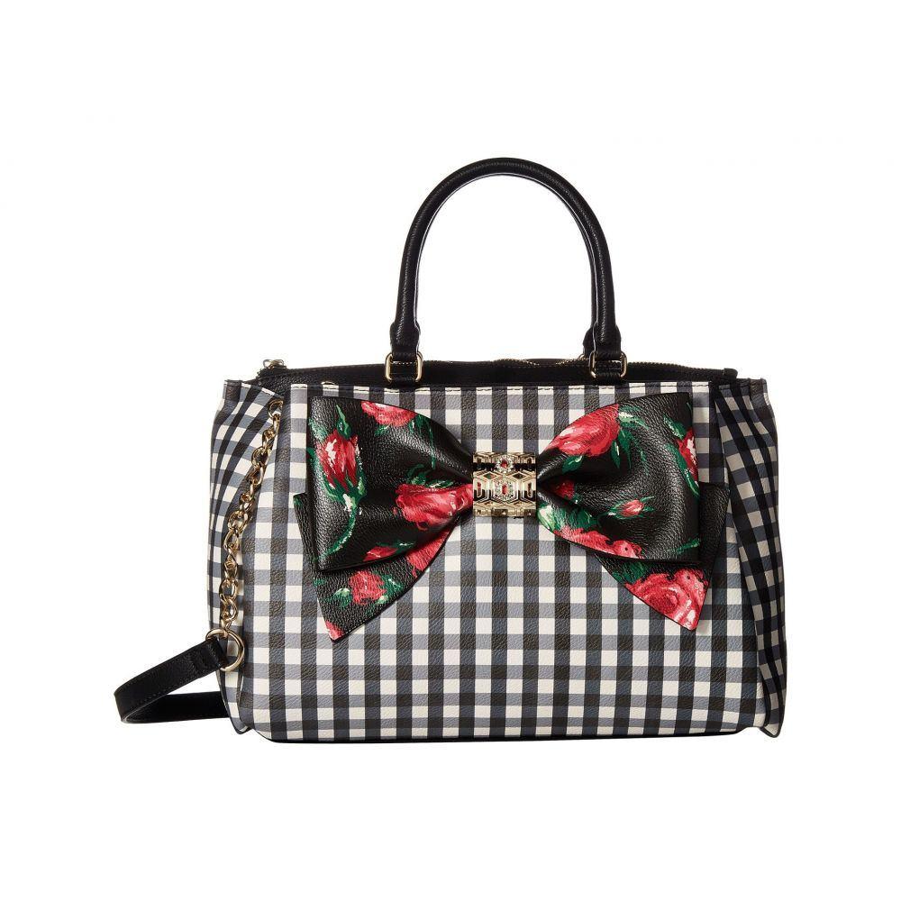 ベッツィ ジョンソン Betsey Johnson レディース バッグ ハンドバッグ【Gingham Style Bow Satchel】Black Floral