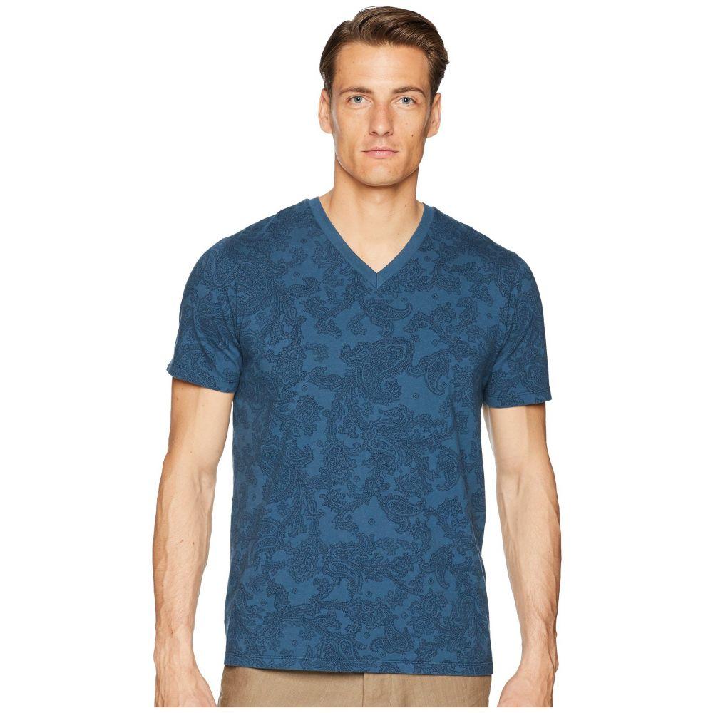 エトロ Etro メンズ トップス Tシャツ【Faded Paisley V-Neck T-Shirt】Navy