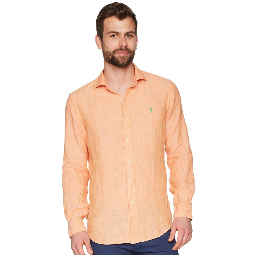 ラルフ ローレン Polo Ralph Lauren メンズ トップス シャツ【Linen Spread Long Sleeve Sport Shirt】Orange/White