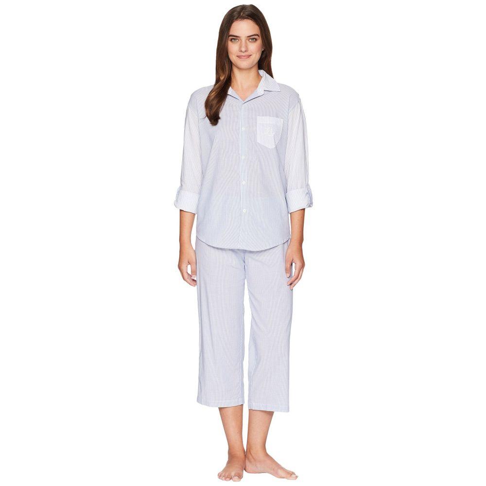 ラルフ ローレン LAUREN Ralph Lauren レディース インナー・下着 パジャマ・上下セット【Stripe Long Sleeve His Shirt Pajama Set】Blue/White Stripe