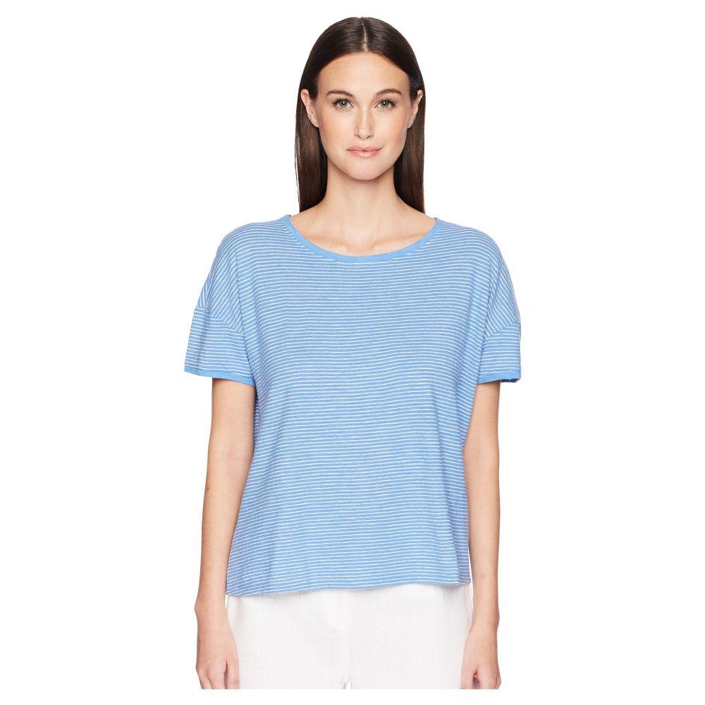 アイリーンフィッシャー Eileen Fisher レディース トップス Tシャツ【Jewel Neck Box-Top】Blue Bell