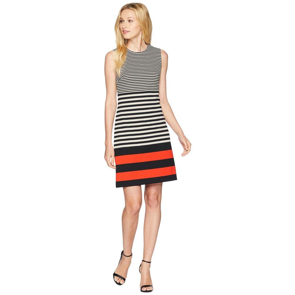 カルバンクライン Calvin Klein レディース ワンピース・ドレス ワンピース【Stripe Ponte Dress】Black/Latte