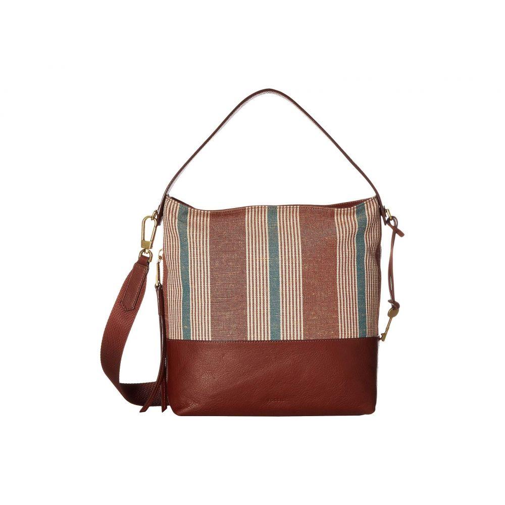 フォッシル Fossil レディース バッグ ショルダーバッグ【Maya Small Hobo】Brown Stripe