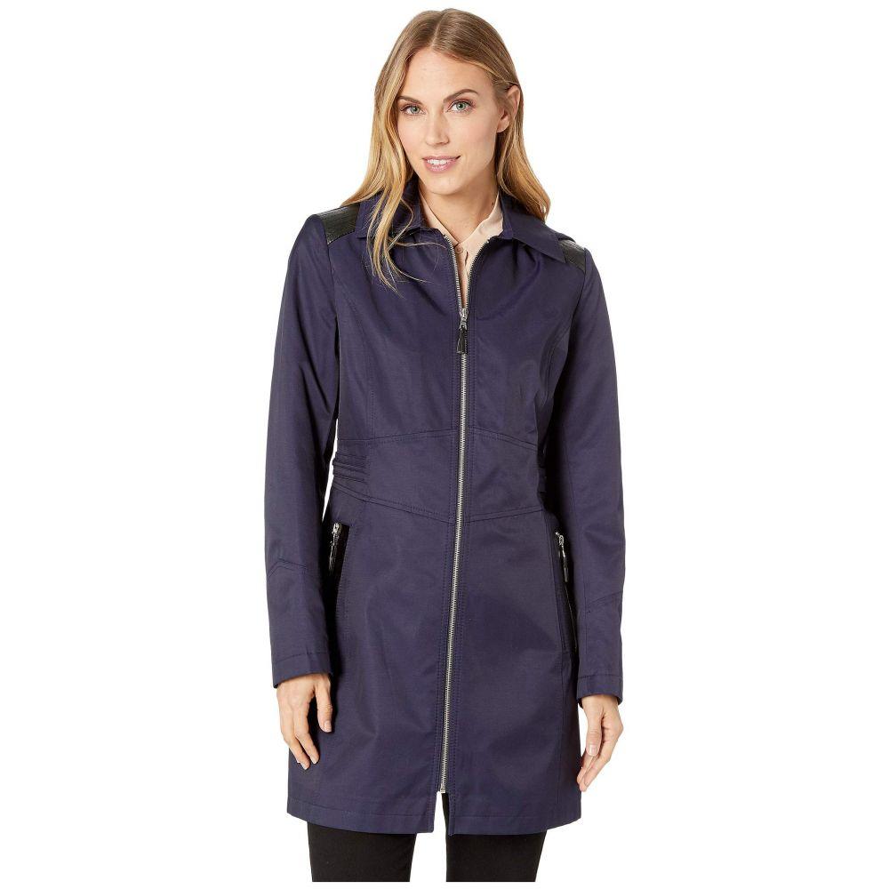 ヴィアスピーガ Via Spiga レディース アウター レインコート【Hooded Fitted Raincoat with Faux Leather Waist Detail】Navy