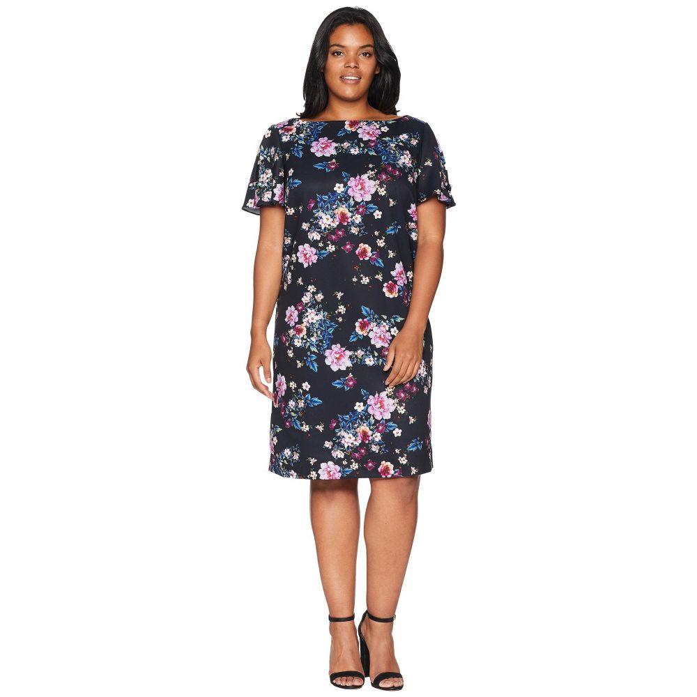 タハリ Tahari by ASL レディース ワンピース・ドレス ワンピース【Plus Size Short Sleeve Shift Floral Dress】Navy/Dahlia/Royal